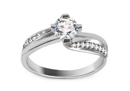 Gold Engagement Ring with Zircons Rosana white