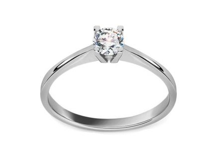 Stunning White Gold Engagement Ring with Zircon
