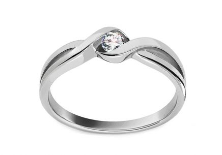 "White Gold Engagement Ring ""Princess 1"""