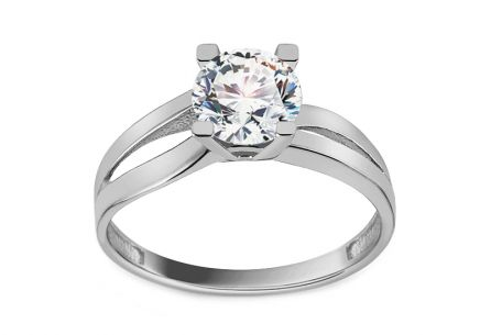 White Gold Engagement Ring with Zircon Alisanne