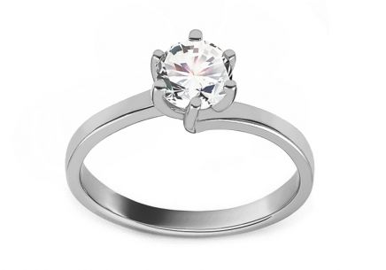 White Gold Engagement Ring with Zircon Charleen