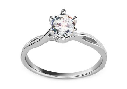 White Gold Engagement Ring with Zircon Diane 6