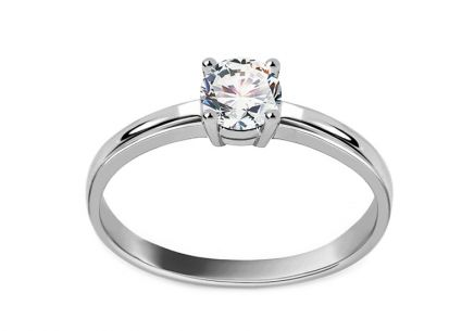 White Gold Engagement Ring with Zircon Jaeda