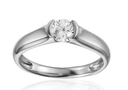White Gold Engagement Ring with Zircon Paiten