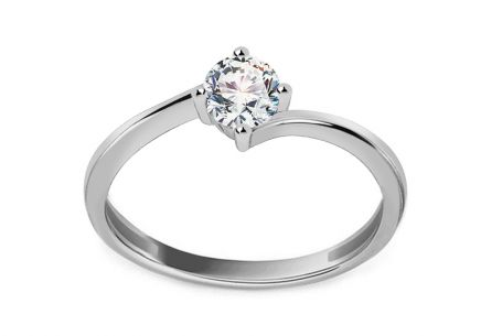 White Gold Engagement Ring with Zircon  Pelgia