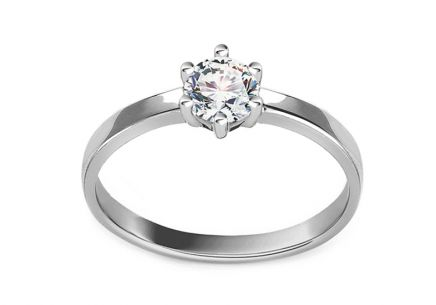 White Gold Engagement Ring with Zircon Rosella