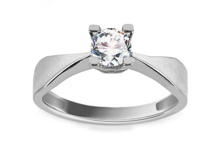 White Gold Engagement Ring with Zircon Surya