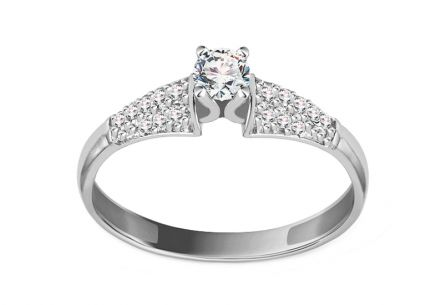White Gold Engagement Ring with Zircons Acadia