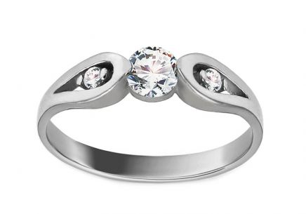White Gold Engagement Ring with Zircons Carly