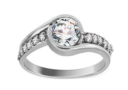 White Gold Engagement Ring with Zircons Charlie 2