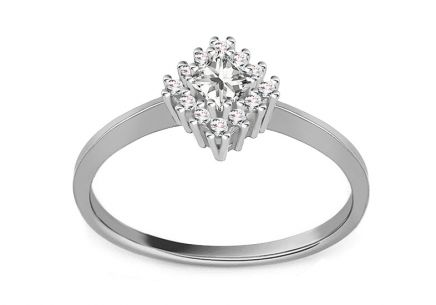 "White Gold Engagement Ring with Zircons ""Diane 4"""