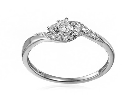 White Gold Engagement Ring with Zircons Elesa