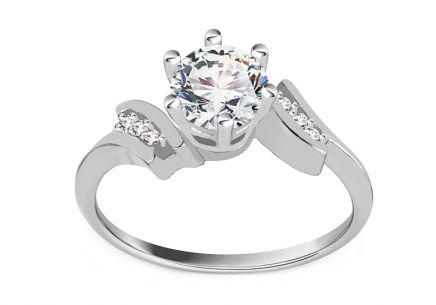 "White Gold Engagement Ring with Zircons ""Isarel 19"""