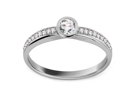 White Gold Engagement Ring with Zircons Jaydra