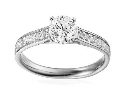 White Gold Engagement Ring with Zircons Loria