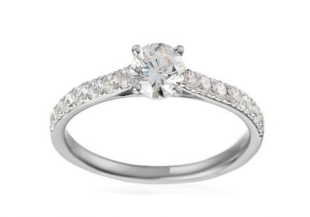 White Gold Engagement Ring with Zircons Noella
