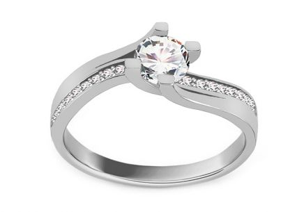 "White Gold Engagement Ring with Zircons ""Payten 2"""