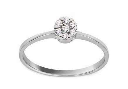 White Gold Engagement Ring with Zircons Princess 17