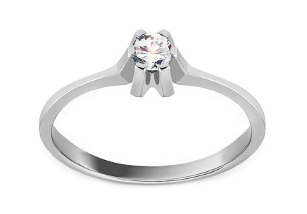 "White Gold Engagement Ring with Zircons ""Princess 18"""