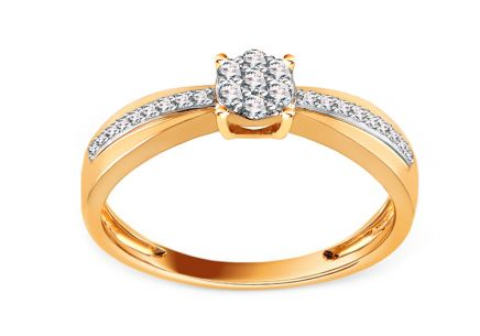 Brilliant and Gold Engagement Ring 0.150 ct