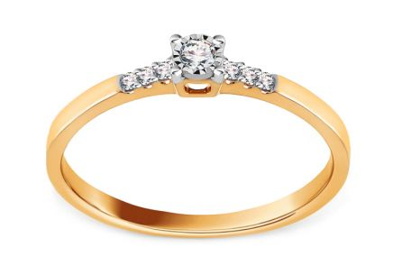 Brilliant Engagement Ring from Combined Gold 0.080 ct