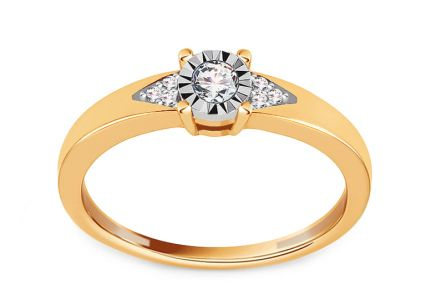 Brilliant Engagement Ring from Combined Gold 0.100 ct