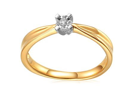 Diamant Engagement Ring from Combined Gold 0.040 ct