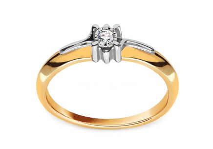 Diamond Engagement Ring from Combined Gold 0.060 ct