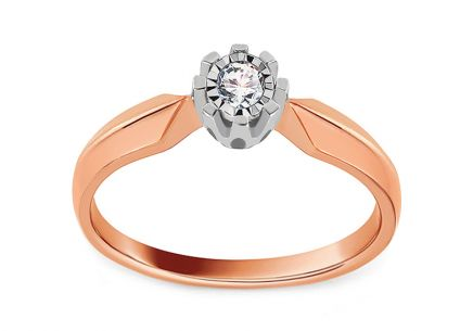 Diamond Engagement Ring from Combined Gold 0.070 ct