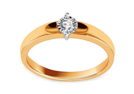 Diamond Engagement Ring from Combined Gold 0.080 ct