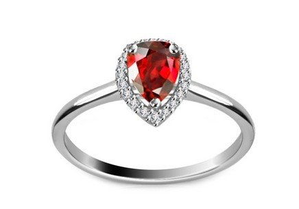 Diamond Ring 0,080 ct Victorian red Drop