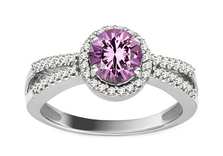 Diamond Ring with Amethyst Domenica