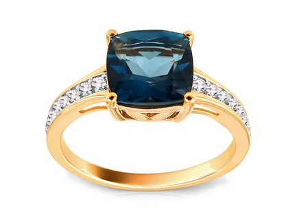 Diamond Ring with London Blue Topaz Monique