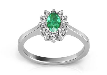 Emerald ring with 0.100 ct diamonds Follow Emotion