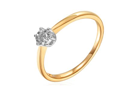 Two tone diamond Engagement ring 0.090 ct