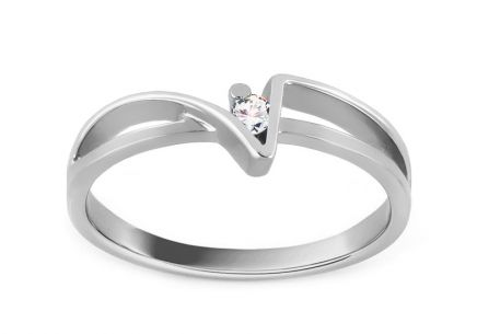 Engagement Ring Of love with Brilliant 0,030 ct white