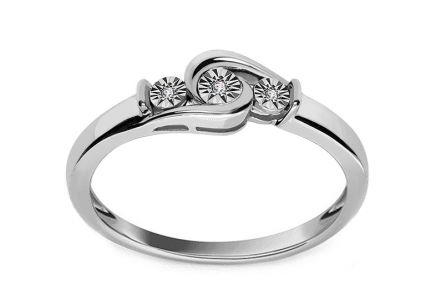 Engagement Ring with 0,010 ct  Diamonds Glitter Love
