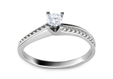 Engagement Ring with 0,320 ct Diamonds Promise 4 white