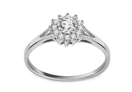 Engagement Ring with 0.360 ct Brilliants Marquis white