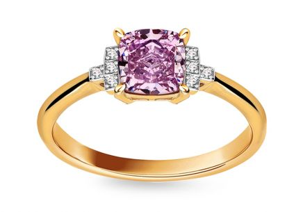 Engagement Ring with Amethyst and Diamonds Skyla