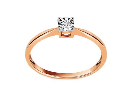 Engagement Ring with Brilliant 0.010 ct Mariya pink