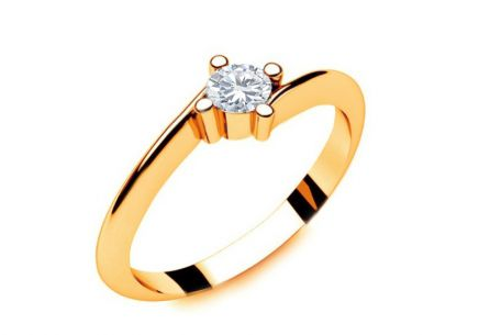 Engagement Ring with Diamond 0,090 ct Lines Of Love 2 Yellow