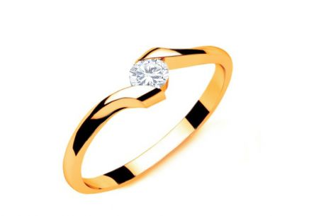 Engagement Ring with Diamond 0,090 ct Lines Of Love 7 Yellow