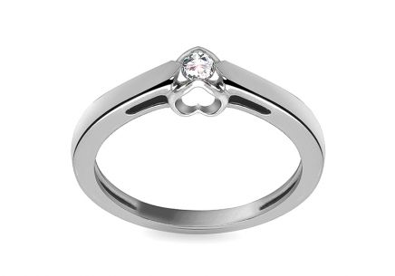 Engagement Ring with Diamond 0,090 ct Romantic Hearts white