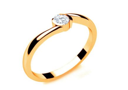 Engagement Ring with Diamond 0,100 ct Lines Of Love 8 Yellow