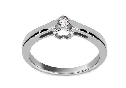 Engagement Ring with Diamond 0,100 ct Romantic Hearts white