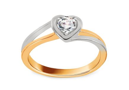 Engagement Ring with Diamond 0,140 ct Sweet Heart