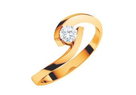 Engagement Ring with Diamond  0,150 ct Lines Of Love Yellow