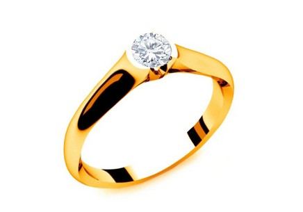Engagement Ring with Diamond 0,150 ct Power Of Love 8 Yellow