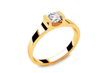 Engagement Ring with Diamond 0,230 ct Power Of Love 5 Yellow
